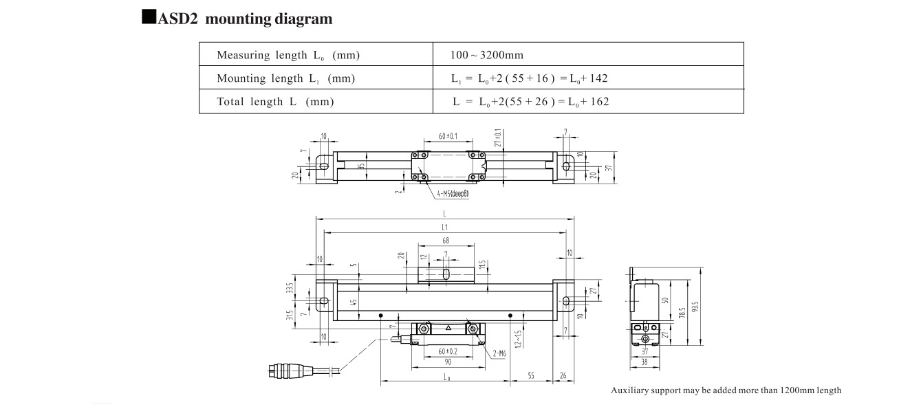 ASD2 linear scales size drawing