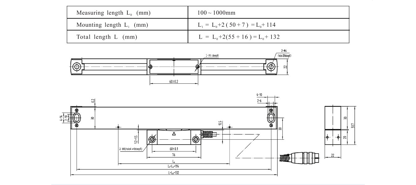 ASD4 glass linear scales size drawing