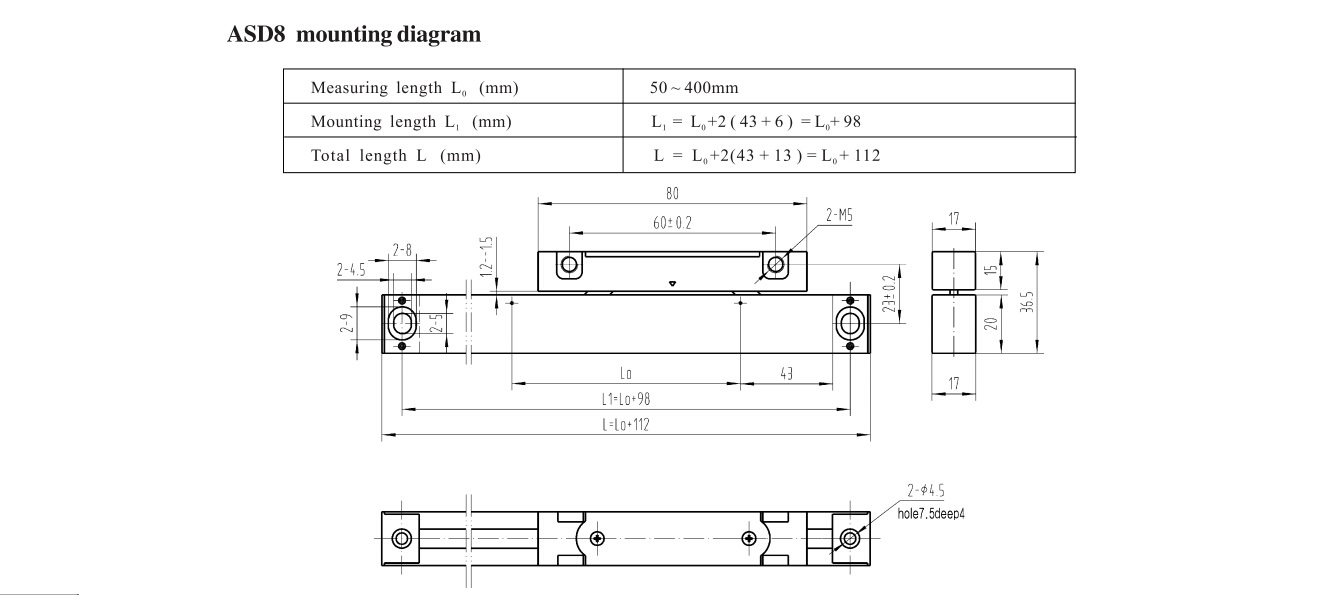 ASD8 linear scales size drawing
